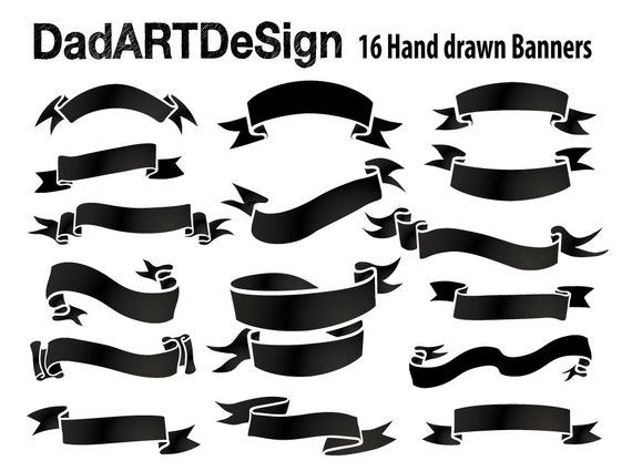Liston Blanco Vector Png: Simple Blank Ribbon Banners Hand Drawn 16 PNG HR Files