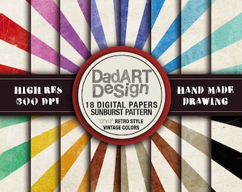 Retro SunBurst Ray Patterns digital paper - vintage grunge distressed colors and surfaces - 18 Sheets - wallpaper
