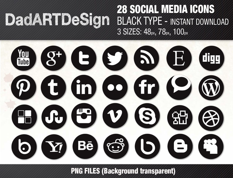28 SOCIAL MEDIA icons set, Black - Instant Download - 3 sizes