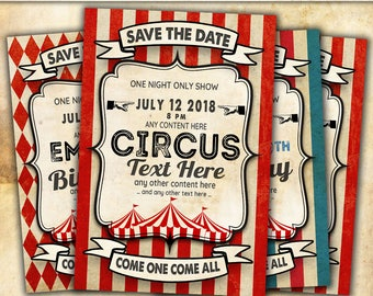 Circus Vintage customizable cards for your birthday, wedding, baby shower and any other celebration