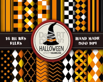 Halloween Patterns Digital Paper Pack 16 sheets printable for Halloween party craft, scrapbook, papergoods, papercraft