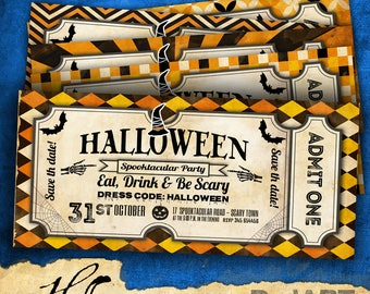 Halloween 04 Vintage invitation Cards - 4 templates ready to customize - instant download