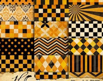 Vintage Halloween Patterns Digital Paper - V04