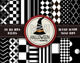 Halloween Patterns Digital Paper Pack Black and White 16 sheets printable for Halloween party craft, scrapbook, papergoods, papercraft