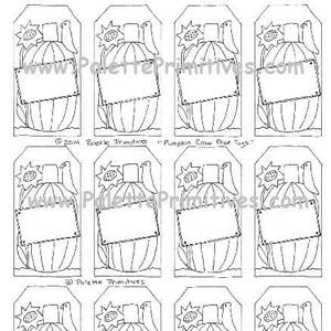 Instant Download PDF Pumpkin Rising Hang Tag Printable Hang Tags