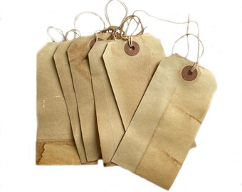 """Primitive Grunged/Aged Hang Tags, 4 3/4"""" x 2 1/4"""", 6/pkg"""