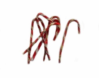 Primitive Grunged Chenille Candy Canes, 6/pkg