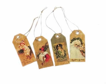 """Vintage Christmas Hang Tags, 3 3/4"""" x 1 3/4"""", 4/pkg"""