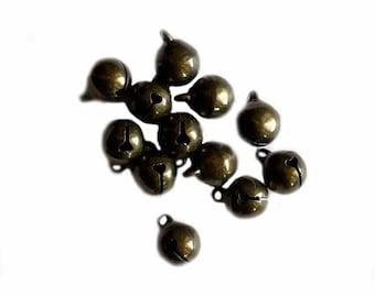 """10mm (3/8"""") Jingle Bell, Vintage Alloy Bronze Color Finish, 12 bells/pkg"""