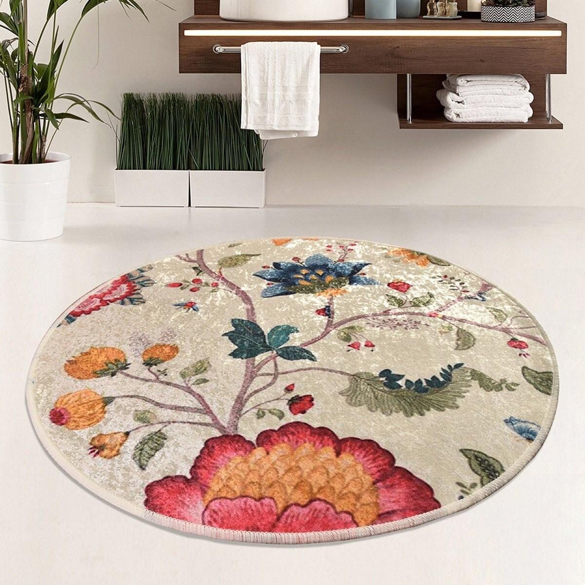 Area Rug Floor Mat Bathroom Circle, Circle Bathroom Rugs