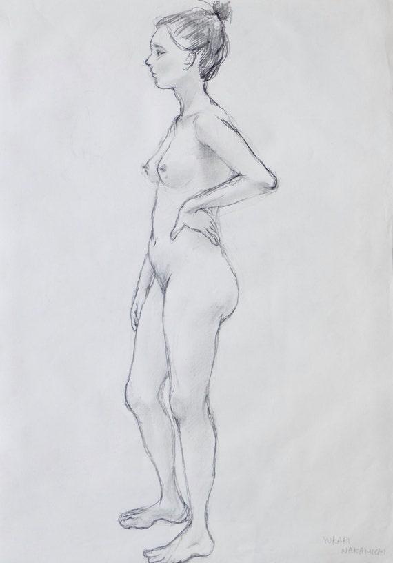 Original vida 3 de dibujo lápiz desnudas Sketch Dessin | Etsy
