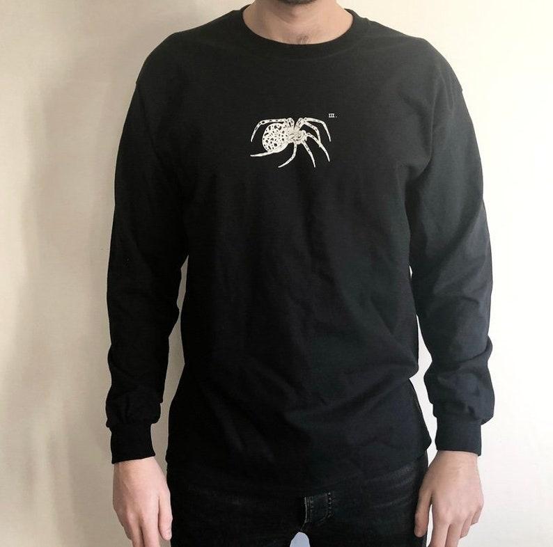 9fd945a1 Spider Long-sleeve shirt. Black Long-sleeve screen-printed | Etsy