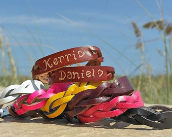Engraved Couples Braided Bracelets - His and Hers Jewelry - Custom engraved leather name bracelets - Personalize leather engraved bracelet