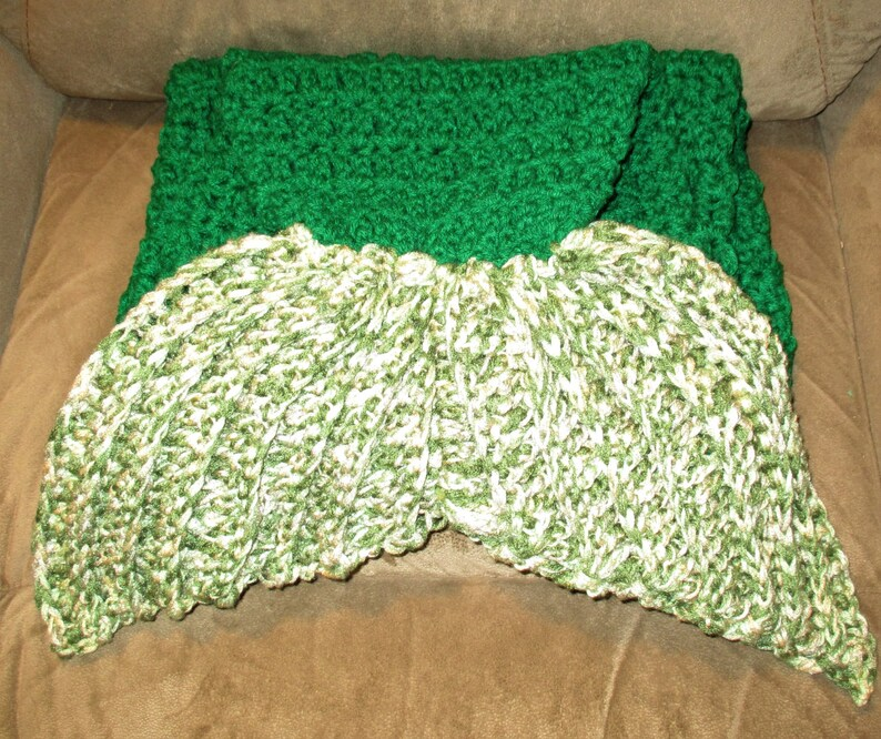 Adult 55 long total Green w Camo tail Clearance SALE RTS Mermaid Tail Hand Crocheted Blanket TweenTeen
