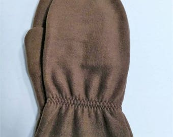 Mens L/XL Brown Fleece Mittens RTS  Ready To Ship