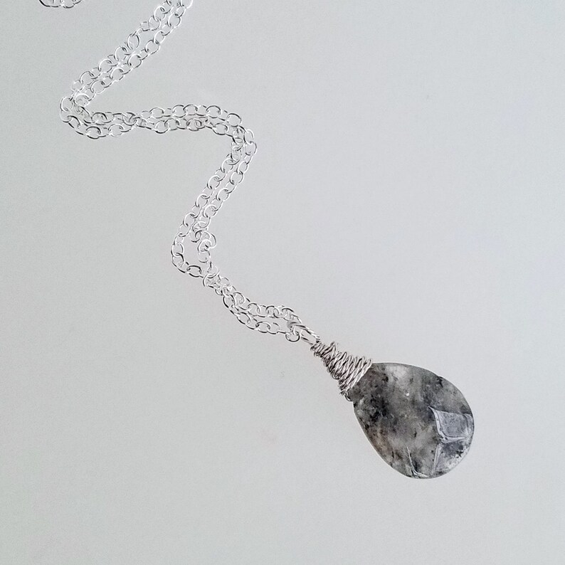 Raw Birthstone Crystal Silver Gem Necklace Gift for Her Birthstone Necklace Mom\u2019s Christmas Rough Moss Agate Crystal Necklace