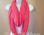 Red with White Dot Nursing Scarf- Ready to Ship