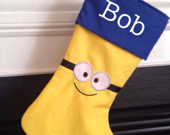 minion inspired stocking - Minion Christmas Stocking