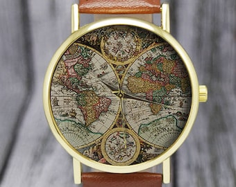 antique world map watch old map cartography travel gift ladies watch