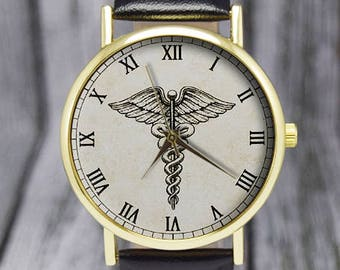 Caduceus Symbol | Medical Symbol | Ladies Watch | Men's Watch | Health Professionals | Birthday Gift Ideas | Wedding | Fashion Accessories