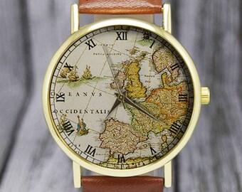 Vintage Europe Map Watch   Old Map   Cartography   Travel Gift   Ladies Watch   Men's Watch   Birthday   Wedding   Gift Ideas   Accessories