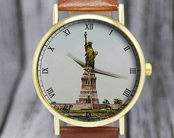 Vintage Statue of Liberty Watch | New York | Ellis Island | Leather Watch | Ladies Watch | Men's Watch | Gift Ideas | Fashion Accessory