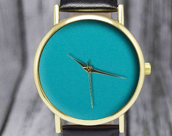 Turquoise Face | Minimalist Watch | Leather Watch | Women's Watch | Men's Watch | Gift for Her | Birthday Gift Ideas | Fashion Accessories