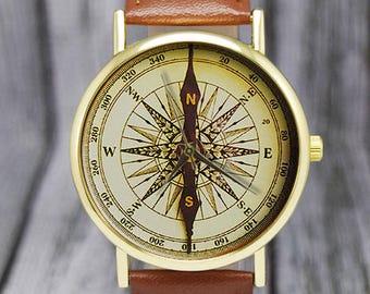 Vintage Compass Watch |  Nautical | Leather Watch | Ladies Watch | Men's Watch | Unisex | Gift Ideas | Wedding | Birthday | Accessories