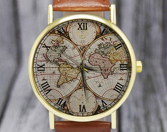 Vintage World Map Watch   Retro   Classic Style   Leather Watch   Ladies Watch   Men's Watch   Birthday   Wedding   Gift Ideas   Travel Gift