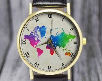 Colorful World Map Watch   Travel Gift   Cartography   Leather Watch   Ladies Watch   Men's Watch   Birthday   Gift Ideas   Accessories