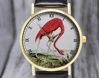 Pink Flamingo   Bird Watch   Vintage Style Watch   Leather Watch   Ladies Watch   Men's Watch   Wedding   Birthday   Gift Ideas   Accessory