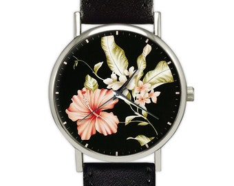Hibiscus Flower Watch | Floral | Women's Watch | Ladies Watch | Gift for Her | Gift Ideas | Jewelry | Fashion Accessory |