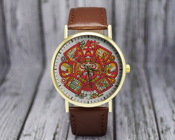 4756929f2252 Aztec Calendar Watch | Vintage Style | Leather Watch | Ladies Watch | Men's  Watch | Women's Watch | Gift Ideas | Fashion Accessories