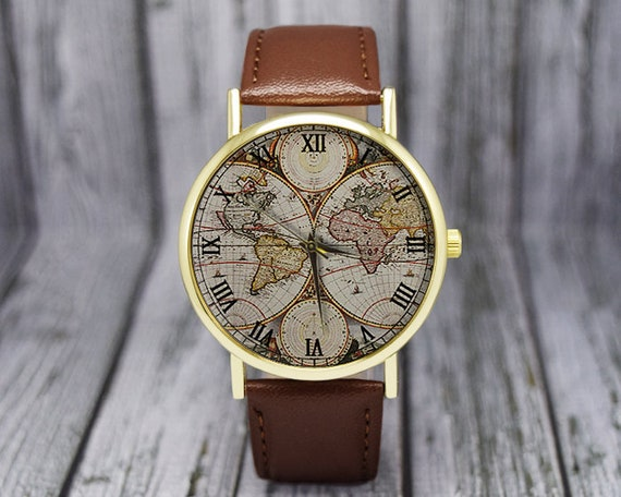 Vintage World Map Watch | Classic Style | Leather Watch | Ladies Watch |  Men\'s Watch | Birthday | Jewelry | Gift Ideas | Travel Gift