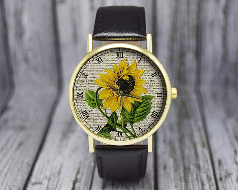 dd869df4e6c00 Sunflower Flower Watch | Floral | Botanical | Watch for Women | Ladies |  Birthday | Wedding | Mother's Day Gift | Christmas Gift | Jewelry