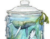 "Watercolor Painting, Whale Painting, Terrarium, Whale in Bottle, Whale Art, Watercolor Print, Sea, Print titled, ""Containing the Sea"""