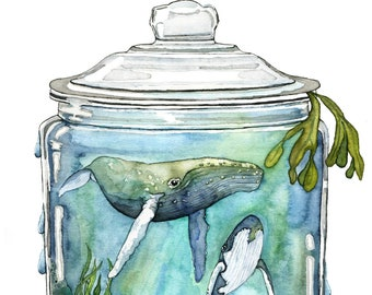 """Watercolor Painting, Whale Painting, Terrarium, Whale in Bottle, Whale Art, Watercolor Print, Sea, Print titled, """"Containing the Sea"""""""