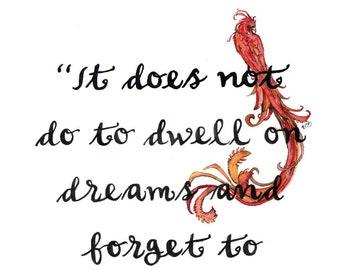 "Phoenix, Quote, Fantasy Art, Fantasy Quote, Phoenix Art, Phoenix Print, Phoenix Painting, Watercolor, Wizard - Print titled, ""Dreams"""