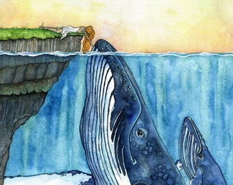 XLARGE Watercolor Girl and Whale Painting - Sizes 16x20 and up, Humpback, Whale Art, Whale Painting, Whale Nursery, Whale Print