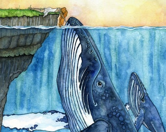 """Whale Art, Watercolor Painting, Whale Painting, Whale and Girl, Whale Print, Nursery Art, Humpback Whale, Print titled, """"The Fisherman's..."""""""