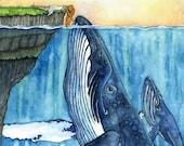 Whale Art, Watercolor Pai...