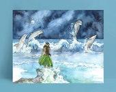 Dolphin Watercolor Painting - Print of Dolphins and Girl, Dolphin Painting, Nursery Art, Beach Art, Hawaiian Art, Hula, Dolphin Art, Ocean