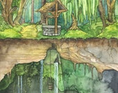 Wishing Well Painting - Print of Wishing Well in Enchanted Forest, Fantasy Art, Fairytale Art, Watercolor Painting