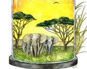 "Watercolor Painting, Elephant Painting, Savannah, African Savannah, Elephant Art, Watercolor Print, Print titled, ""Silencing the Sanvannah"""