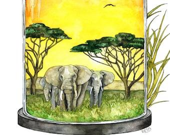 "Watercolor Painting, Elephant Painting, Savannah, African Savannah, Elephant Art, Watercolor Print, Print titled, ""Silencing the Sanvannah"""