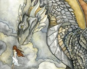 "Dragon Painting, Dragon Art, Fantasy Art, Fantasy Painting, Watercolor Painting, Art Print, Dragon and Girl, Print titled, ""Stormblessed"""