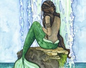 "Mermaid Painting, Watercolor Painting, Mermaid Art, Mermaid Decor, Mermaid Print, Nursery Art, Waterfall Painting, Print titled, ""Cascade"""