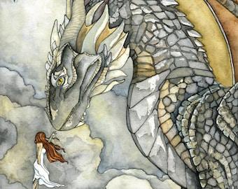 "Dragon Painting, Dragon Art, Fantasy Art, Fantasy Painting, Watercolor Painting, Art Print, Dragon and Girl, Print titled, ""Stormblessed"""