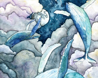 """Whale Painting, Watercolor Painting, Whale Print, Night Sky, Whale Art, Whale Nursery, Humpback, Sky Whales, Print titled, """"Faraway Skies"""""""