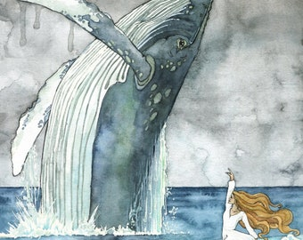 Whale and Dancer Painting - Print of Whale and Girl, Whale Painting, Whale Art, Whale Print, Nursery Art, Humpback Whale, Beach Art